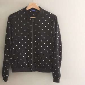 🎁Le Tigre Black and White Polka Dot Bomber Jacket
